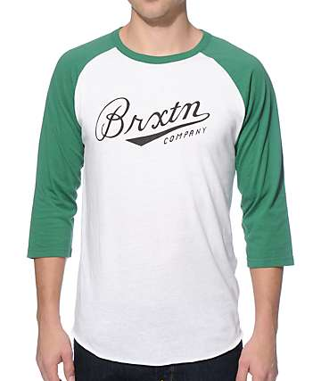 Brixton Fenway White and Green Baseball T-Shirt
