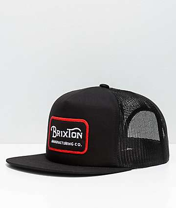 Brixton Grade Black Mesh Trucker Snapback Hat
