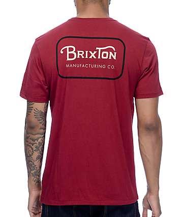 Brixton Grade Burgundy & Black Premium T-Shirt