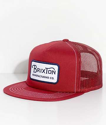 Brixton Grade Burgundy Snapback Hat