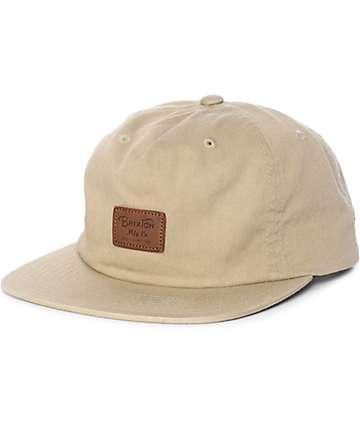 Brixton Grade II Unstructured Khaki Snapback Hat