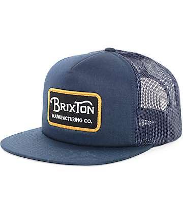Brixton Grade Navy & Gold Trucker Snapback Hat