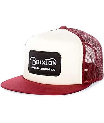 Brixton Grade gorra snapback en blanco y color vino