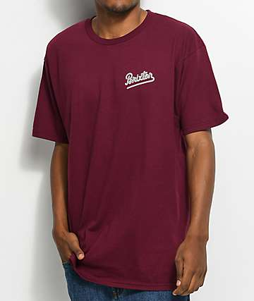 Brixton Hammond Burgundy & White T-Shirt