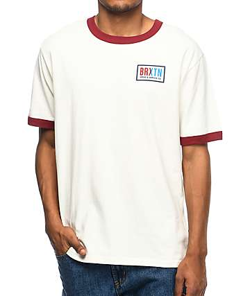 Brixton Hayward Off White & Burgundy Mesh T-Shirt
