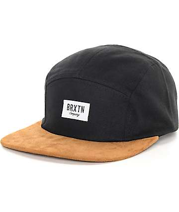 Brixton Hoover 5 Panel Black & Copper Strapback Hat