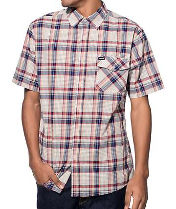 Brixton Howl Oatmeal, Blue, and Burgundy Plaid Button Up Shirt