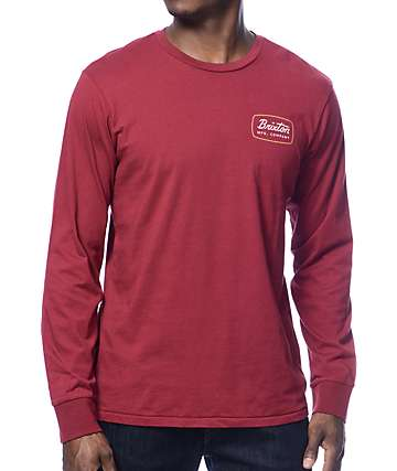 Brixton Jolt Burgundy Long Sleeve T-Shirt