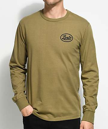Brixton Kansas Olive Green Long Sleeve T-Shirt