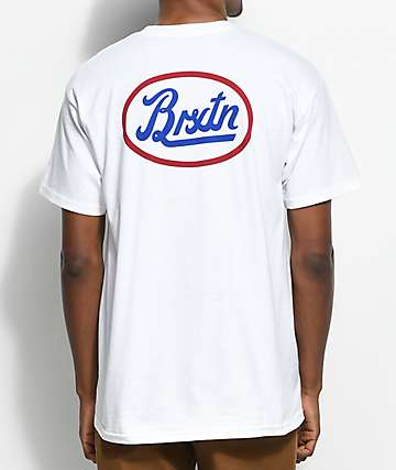 Brixton Kansas White, Blue & Red T-Shirt