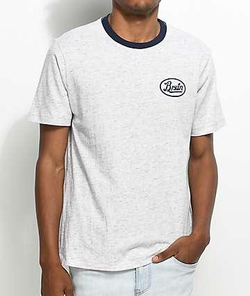 Brixton Kansas camiseta en gris y azul marino