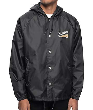 Brixton Maverick Black Hooded Coaches Jacket