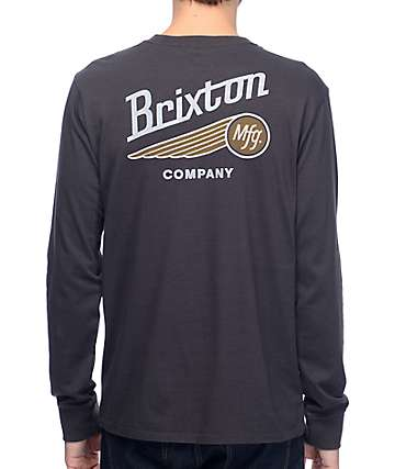 Brixton Maverick Black Wash Long Sleeve Pocket T-Shirt