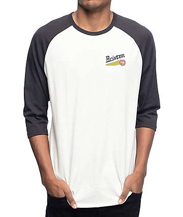 Brixton Maverick Off White Baseball T-Shirt