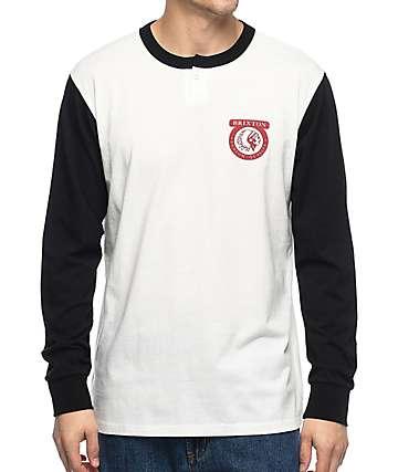 Brixton Native camiseta henley de manga larga en negro y color crema