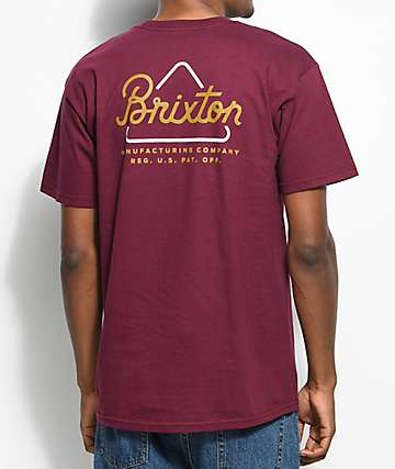Brixton Newbury Burgundy T-Shirt