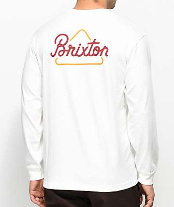 Brixton Newbury Off White & Burgundy Long Sleeve T-Shirt