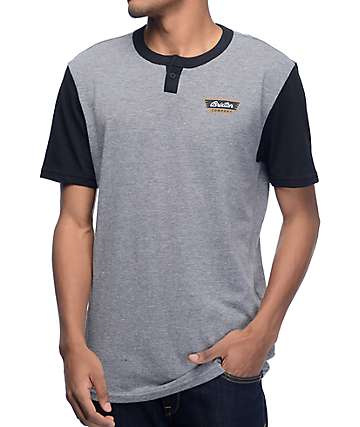 Brixton Normandie Grey & Black 2 Tone Henley T-Shirt