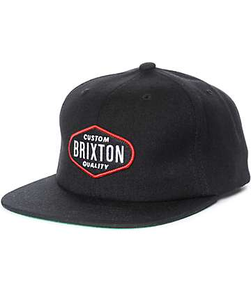 Brixton Oakland Black Snapback Hat