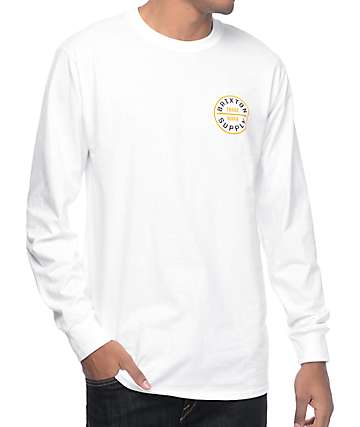 Brixton Oath II White Long Sleeve T-Shirt