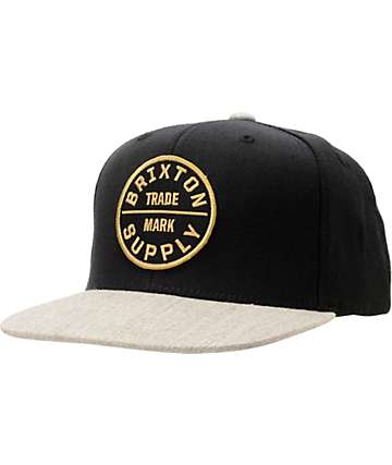 Brixton Oath III Black & Grey Wool Snapback Hat