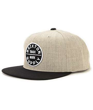 Brixton Oath III Heather Grey & Black Snapback Hat