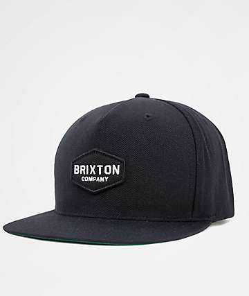 Brixton Obtuse Black Snapback Hat