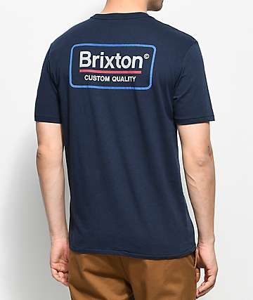 Brixton Palmer Navy Premium T-Shirt