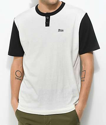 Brixton Potrero White & Black 2 Tone Henley T-Shirt