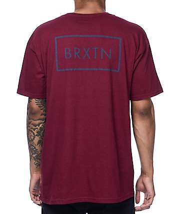 Brixton Rift Burgundy T-Shirt