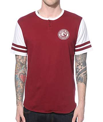 Brixton Rival Burgundy and White Henley T-Shirt