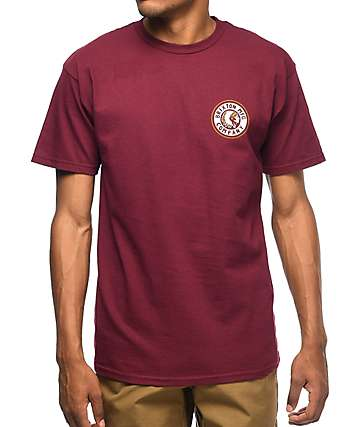 Brixton Rival II Burgundy & White T-Shirt
