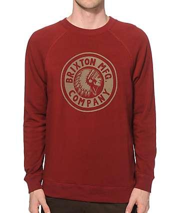 Brixton Rival Maroon Crew Neck Sweatshirt