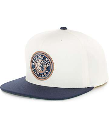 Brixton Rival Off-White & Navy Snapback Hat