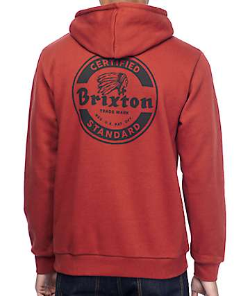 Brixton Soto Burgundy & Black Fleece Hoodie