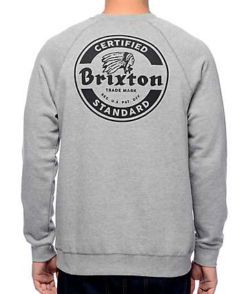 Brixton Soto Grey Crew Neck Sweatshirt