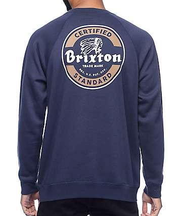 Brixton Soto Navy Crew Neck Sweatshirt