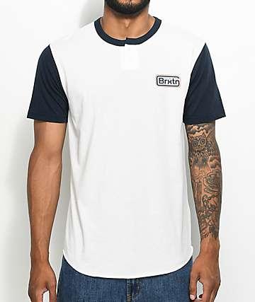 Brixton Springfield camiseta henley en blanco y azul marino