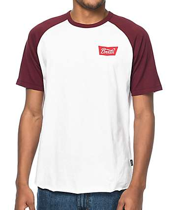 Brixton Stith Burgundy & White T-Shirt