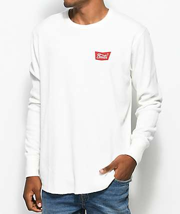 Brixton Stith Off White Long Sleeve Knit Thermal