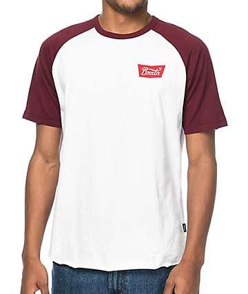 Brixton Stith camiseta en blanco y color vino