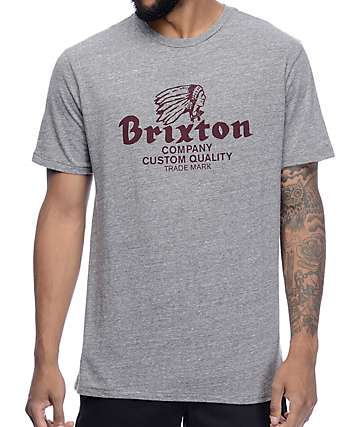 Brixton Tanka Heather Grey & Burgundy Premium T-Shirt