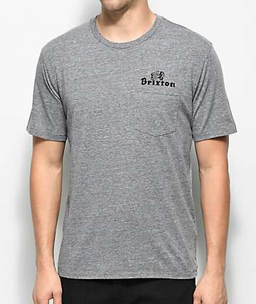 Brixton Tanka II Grey Premium Pocket T-Shirt
