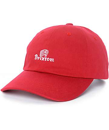 Brixton Tanka gorra strapback sin estructura en rojo oscuro