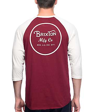 Brixton Wheeler Burgundy Baseball T-Shirt
