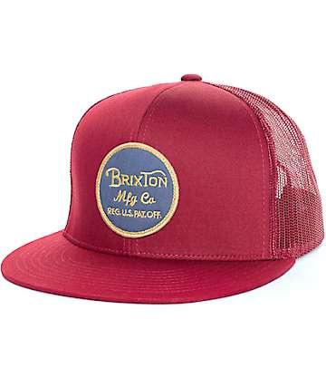 Brixton Wheeler Burgundy Mesh Trucker Hat