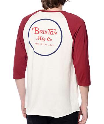 Brixton Wheeler Burgundy and White Baseball T-Shirt