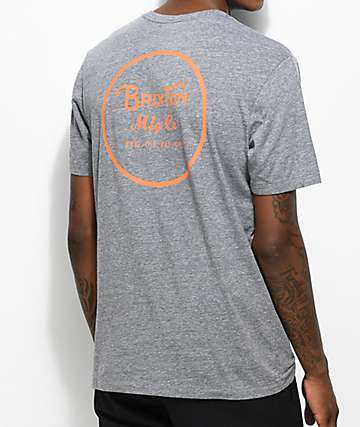 Brixton Wheeler Grey & Orange T-Shirt