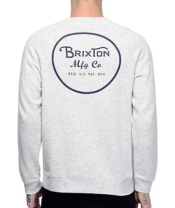 Brixton Wheeler Grey Crew Neck Sweatshirt