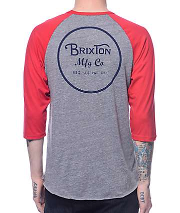 Brixton Wheeler Grey and Red Baseball T-Shirt